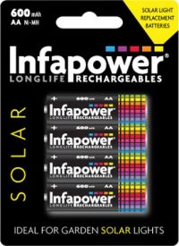 Infapower (B008) AA 600mAh Solar Light batteries - pack of 4
