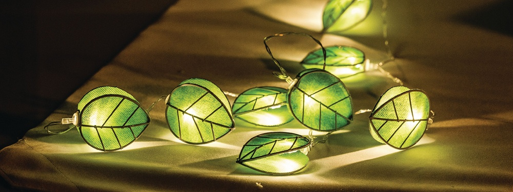 String of 10 battery operated LED Green Leaf Lights